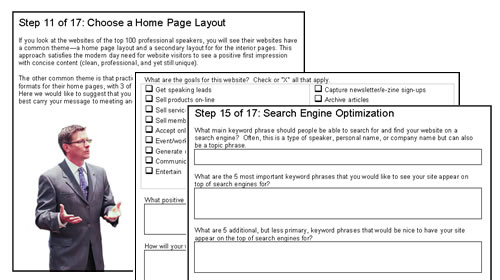 Sample screen of website pre-flight planning document for professional speakers.